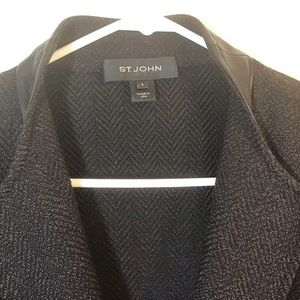 St John Wool and Rayon Blazer with leather trim.